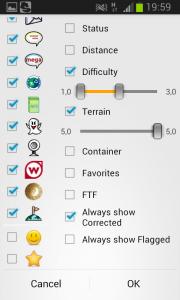Filter Ansicht: nur T5 und D1 bis D3, gefundene und eigene Caches ausgeblendet