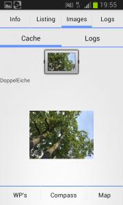 Listing Ansicht: es können Bilder aus dem Listing und aus den Logs angezeigt werden