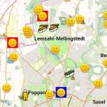 Map Ansicht: inkl. gefundene Caches und Farbmarkierung (blau: Userflag gesetzt, rot: temporär nicht verfügbar)