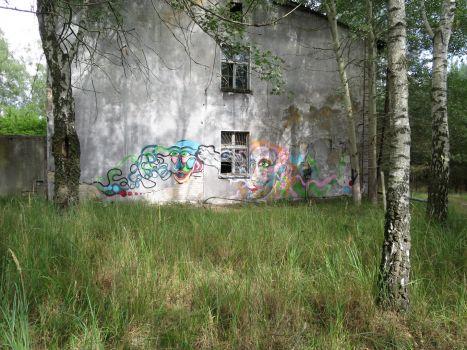 Unterkunftsgebäude mit Graffiti